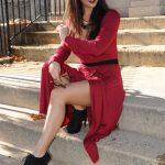 Burgundy surplice dress…