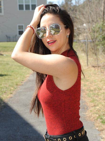 Red bodysuit…